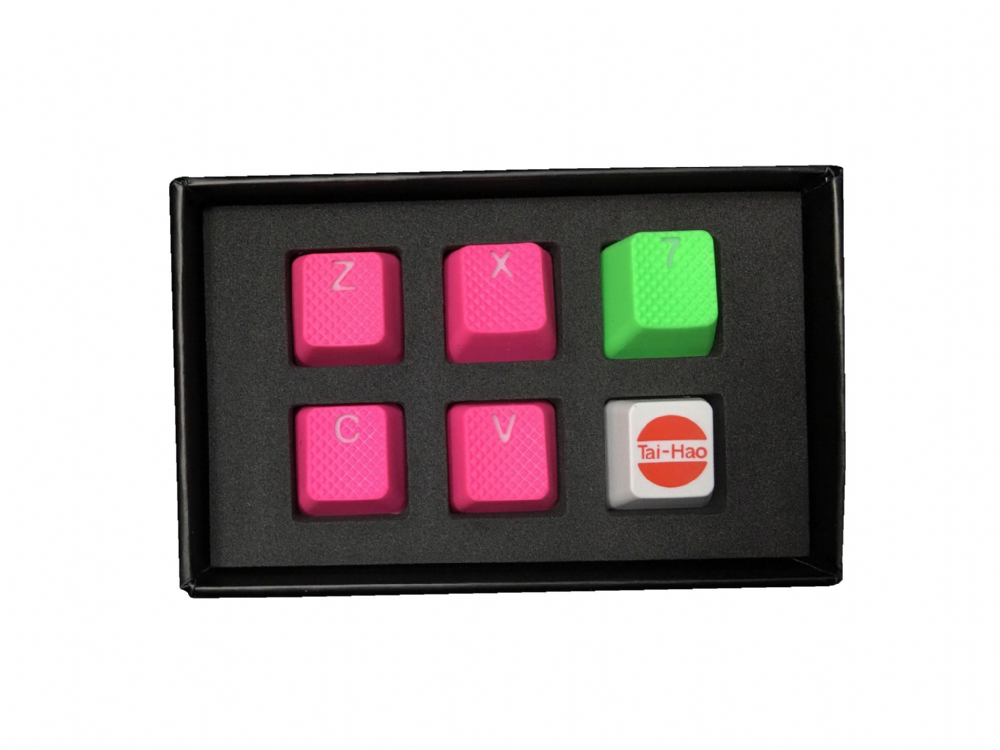 Tai-Hao TPR Rubber Backlit Double Shot ZXCV Keys Neon Pink